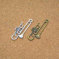 Musikinstrument Zinklegierung Anhänger, Lautsprecher, plattiert, keine, frei von Nickel, Blei & Kadmium, 13x32x2mm, Bohrung:ca. 1.5mm, 100PCs/Menge, verkauft von Menge