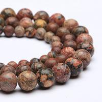 Leopardhaut Stein Perle, rund, synthetisch, verschiedene Größen vorhanden, Bohrung:ca. 1mm, verkauft per ca. 15 ZollInch Strang