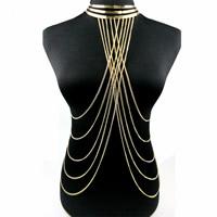 Zinklegierung Körper-Kette, mit Verlängerungskettchen von 1.5Inch, goldfarben plattiert, Twist oval & für Frau, frei von Nickel, Blei & Kadmium, verkauft per ca. 15.5 ZollInch Strang