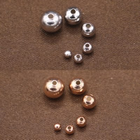 925 Sterling Silber Perlen, rund, verschiedene Größen vorhanden, keine, 100PC/Tasche, verkauft von Tasche