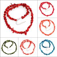 Koralle Halskette, Synthetische Koralle, Messing Karabinerverschluss, mit Verlängerungskettchen von 5cm, Klumpen, keine, 5x3mm-15x8mm, verkauft per ca. 19 ZollInch Strang