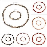 Edelstein Mode Schmuckset, Armband & Halskette, Messing Karabinerverschluss, mit Verlängerungskettchen von 5cm, Klumpen, verschiedenen Materialien für die Wahl, 5x3mm-15x8mm, Länge:ca. 7.5 ZollInch, ca. 19 ZollInch, verkauft von setzen