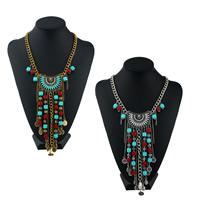 Mode-Fringe-Halskette, Zinklegierung, mit Harz, mit Verlängerungskettchen von 1.95 lnch, plattiert, Twist oval & für Frau, keine, frei von Nickel, Blei & Kadmium, 110mm, verkauft per ca. 17.7 ZollInch Strang