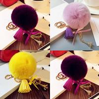 Pelzball Pom Pom Keychain, Zinklegierung, mit Hasenhaar & Satinband & Wollschnur & Kunststoff Perlen, goldfarben plattiert, keine, frei von Nickel, Blei & Kadmium, 80mm, verkauft von PC