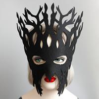 Filz Maske, mit Satinband, Geweihe, unisex & Halloween Schmuck, schwarz, frei von Nickel, Blei & Kadmium, 295mm, verkauft von PC