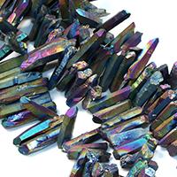 Natürlicher Quarz Perle, bunte Farbe plattiert, facettierte, 26-49x7-9x10-11mm, Bohrung:ca. 1mm, ca. 50PCs/Strang, verkauft per ca. 16 ZollInch Strang