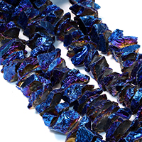Natürliche Beschichtung Quarz Perlen, Natürlicher Quarz, bunte Farbe plattiert, facettierte, 15-25x4-19x4-17mm, Bohrung:ca. 1mm, ca. 43PCs/Strang, verkauft per ca. 16 ZollInch Strang