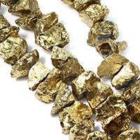 Natürliche Beschichtung Quarz Perlen, Natürlicher Quarz, antike Goldfarbe plattiert, 24-35x16-22x17-25mm, Bohrung:ca. 1.5mm, ca. 25PCs/Strang, verkauft per ca. 16 ZollInch Strang