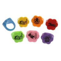 Kinder Finger Ring, Harz, für Kinder & gemischt, frei von Blei & Kadmium, 20x21x18mm, Größe:4.5, 100PCs/Tasche, verkauft von Tasche