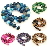 Streifen Achat Perle, rund, verschiedene Größen vorhanden, keine, Bohrung:ca. 1mm, verkauft per ca. 15 ZollInch Strang