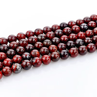 Jaspis Brekzien Perlen, Jaspis Brecciated, rund, natürlich, verschiedene Größen vorhanden, Bohrung:ca. 1mm, verkauft per ca. 15 ZollInch Strang