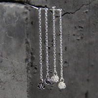 925 Sterling Silber Gewinde durch Ohrringe, verschiedenen Materialien für die Wahl & für Frau, 4.20x35mm, verkauft von Paar