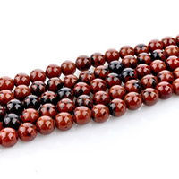 Mahagoni Obsidian Perlen, mahagonibrauner Obsidian, rund, natürlich, verschiedene Größen vorhanden, Bohrung:ca. 1mm, verkauft per ca. 15 ZollInch Strang