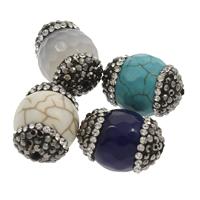 Mischedelstein Perlen, Edelstein, mit Ton, gemischt, 14x18mm-13x19mm, Bohrung:ca. 1mm, 2PCs/Tasche, verkauft von Tasche