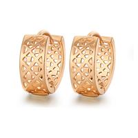 Messing Huggie Hoop Ohrringe, 18K rosafarbenes Gold überzogen, für Frau, frei von Nickel, Blei & Kadmium, 14x6mm, verkauft von Paar
