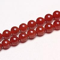 Roter Achat Perle, rund, natürlich, verschiedene Größen vorhanden, Bohrung:ca. 1mm, verkauft per ca. 15 ZollInch Strang