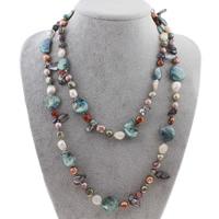 Süßwasserperlen Pullover Halskette, Natürliche kultivierte Süßwasserperlen, Keishi, 9-26mm, verkauft per ca. 48 ZollInch Strang