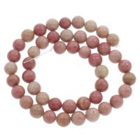 Rhodonit Perlen, rund, natürlich, verschiedene Größen vorhanden, Bohrung:ca. 1mm, verkauft per ca. 15 ZollInch Strang