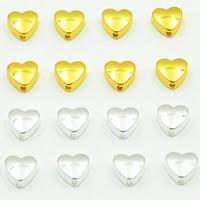 Messing Schmuckperlen, Herz, plattiert, keine, frei von Blei & Kadmium, 8mm, Bohrung:ca. 1.5mm, 30PCs/Tasche, verkauft von Tasche