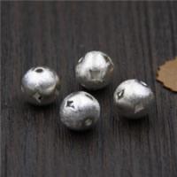 925 Sterlingsilber European Perlen, 925 Sterling Silber, rund, gebürstet, 10mm, Bohrung:ca. 1.5mm, 5PCs/Menge, verkauft von Menge