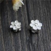 925 Sterling Silber Perlen, Blume, verschiedene Größen vorhanden, Bohrung:ca. 1mm, 10PCs/Menge, verkauft von Menge