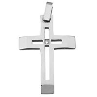 Edelstahl-Kreuz- Anhänger, Edelstahl, mit Strass, originale Farbe, 25x36x3mm, Bohrung:ca. 3x5mm, verkauft von PC