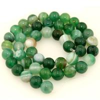 Natürliche Streifen Achat Perlen, rund, verschiedene Größen vorhanden, grün, verkauft per ca. 15.5 ZollInch Strang