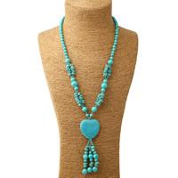 Sweater Türkis Halskette, Synthetische Türkis, mit Glas-Rocailles, Herz, blau, 40x105mm, verkauft per ca. 25.5 ZollInch Strang