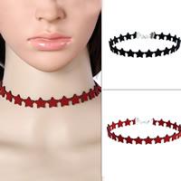 Tätowierung-Choker-Halskette, Wollschnur, mit Zinklegierung, mit Verlängerungskettchen von 7cm, Stern, Platinfarbe platiniert, keine, 320mm, verkauft per ca. 12.5 ZollInch Strang