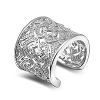 Messing Manschette Fingerring, plattiert, einstellbar & für Frau, keine, frei von Blei & Kadmium, 21mm, Größe:6-8, verkauft von PC