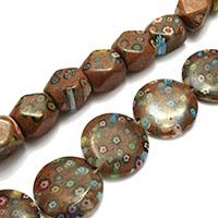 Millefiori Scheibe Lampwork Perlen, mit Millefiori Scheibe & gemischt, 15-24x13-24x5-13mm, Bohrung:ca. 1mm, Länge:ca. 14.5-15 ZollInch, 10SträngeStrang/Menge, ca. 16PCs/Strang, verkauft von Menge