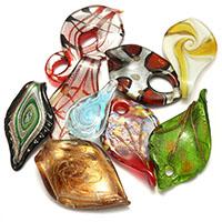 Goldsand & Silberfolie Lampwork Anhänger, Goldfolie und Siberfolie & gemischt, 24-39x43.5-68x10-15mm, Bohrung:ca. 4-8mm, 3Taschen/Menge, 10PCs/Tasche, verkauft von Menge