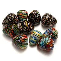 Millefiori Scheibe Lampwork Perlen, mit Millefiori Scheibe & gemischt, 22-25x26-30x22-25mm, Bohrung:ca. 2mm, 5Taschen/Menge, 10PCs/Tasche, verkauft von Menge