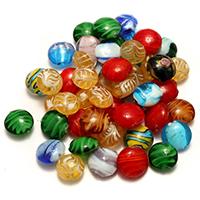 Goldsand & Silberfolie Lampwork Perlen, gemischtes Muster & Silberpulver & Goldfolie, 14-17x15-17x8-9mm, Bohrung:ca. 2mm, 5Taschen/Menge, ca. 50PCs/Tasche, verkauft von Menge