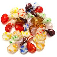 Goldsand & Silberfolie Lampwork Perlen, gemischtes Muster & Goldfolie und Siberfolie, 15-21x12-16x6-7mm, Bohrung:ca. 1.5-3mm, 5Taschen/Menge, 50PCs/Tasche, verkauft von Menge