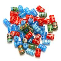 Millefiori Scheibe Lampwork Perlen, Zylinder, mit Millefiori Scheibe, gemischte Farben, 7-9x5x5mm, Bohrung:ca. 1mm, 5Taschen/Menge, 50PCs/Tasche, verkauft von Menge