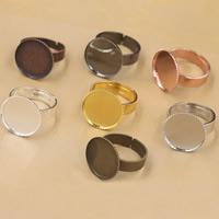 Messing Ringschiene, flache Runde, plattiert, olika innerdiameter, för val & einstellbar, keine, frei von Nickel, Blei & Kadmium, 12-30mm, Größe:6-9, 40PCs/Tasche, verkauft von Tasche
