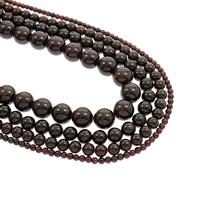 Natürlicher Granat Perlen, rund, Januar Birthstone & verschiedene Größen vorhanden, Bohrung:ca. 1mm, verkauft per ca. 15.5 ZollInch Strang