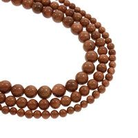 Goldstein Perlen, Goldsand, rund, natürlich, verschiedene Größen vorhanden, Bohrung:ca. 1mm, verkauft per ca. 15.5 ZollInch Strang