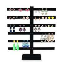 Baumwollsamt Ohrringständer, mit Holz, frei von Nickel, Blei & Kadmium, 40x36mm, 6PCs/Menge, verkauft von Menge