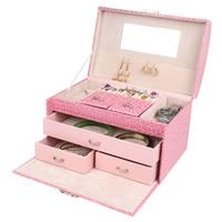 Multifunktionale Schmuck-Box, PU Leder, mit Baumwollsamt & Glas & Zinklegierung, keine, frei von Nickel, Blei & Kadmium, 240x160x165mm, verkauft von PC