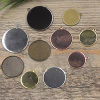 Messing Anhänger Cabochon Einstellung, flache Runde, plattiert, olika innerdiameter, för val, keine, frei von Nickel, Blei & Kadmium, 20-30mm, Bohrung:ca. 1.5mm, 50PCs/Tasche, verkauft von Tasche