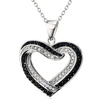 Kubischer Zirkon Micro Pave Sterling Silber Halskette, 925 Sterling Silber, Herz, Oval-Kette & Micro pave Zirkonia & für Frau, 24x20mm, verkauft per ca. 18 ZollInch Strang