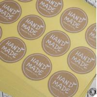 Abdichten von Aufkleber, Kraftpapier, flache Runde, Made Hand, klebrig, 35mm, 100SetsSatz/Tasche, 12PCs/setzen, verkauft von Tasche