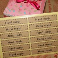 Abdichten von Aufkleber, Kraftpapier, Rechteck, Made Hand, klebrig, 15x70mm, 100SetsSatz/Tasche, 12PCs/setzen, verkauft von Tasche