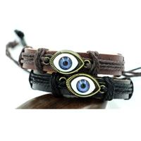 Evil Eye Schmuck Armband, Kuhhaut, mit Hanfgarn & Harz & Zinklegierung, blöser Blick, antike Bronzefarbe plattiert, unisex & einstellbar, keine, 12mm, verkauft per ca. 6.8 ZollInch Strang