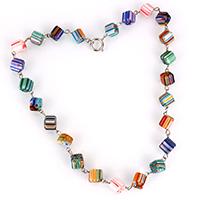 Lampwork Halskette, mit Zinklegierung, Würfel, Platinfarbe platiniert, für Frau & mit Millefiori Scheibe, 22x14x14mm, Länge:ca. 19.5 ZollInch, 3SträngeStrang/Menge, verkauft von Menge