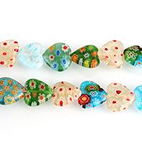 Millefiori Scheibe Lampwork Perlen, Herz, mit Millefiori Scheibe, gemischte Farben, 12x12x4mm, Bohrung:ca. 1mm, Länge:ca. 14.5 ZollInch, 8SträngeStrang/Menge, ca. 33PCs/Strang, verkauft von Menge