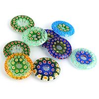 Millefiori Scheibe Glas Anhänger, Lampwork, flache Runde, mit Millefiori Scheibe, gemischte Farben, 30x4mm, Bohrung:ca. 6mm, 2Taschen/Menge, 10PCs/Tasche, verkauft von Menge