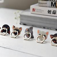 Zinklegierung Handyhalter-Ring, mit Silikon, Katze, klebrig & verschiedene Muster für Wahl, 44.5x35mm, 2PCs/Menge, verkauft von Menge
